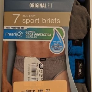 NWT Hanes Premium Fresh IQ 7 Tagless Sport Briefs